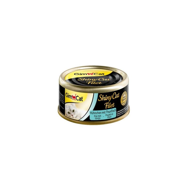 Gimpet Shiny Cat Filet консервы для кошек, с курицей и тунцом